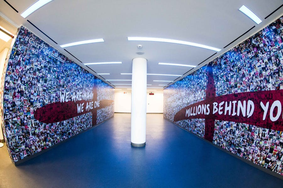 Photo of Player's Tunnel and Pitch-Side at Twickenham Stadium
