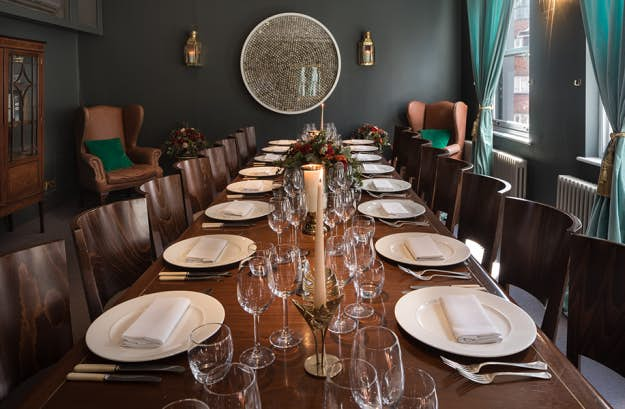 The Mackintosh Room at the Groucho set up for private dining