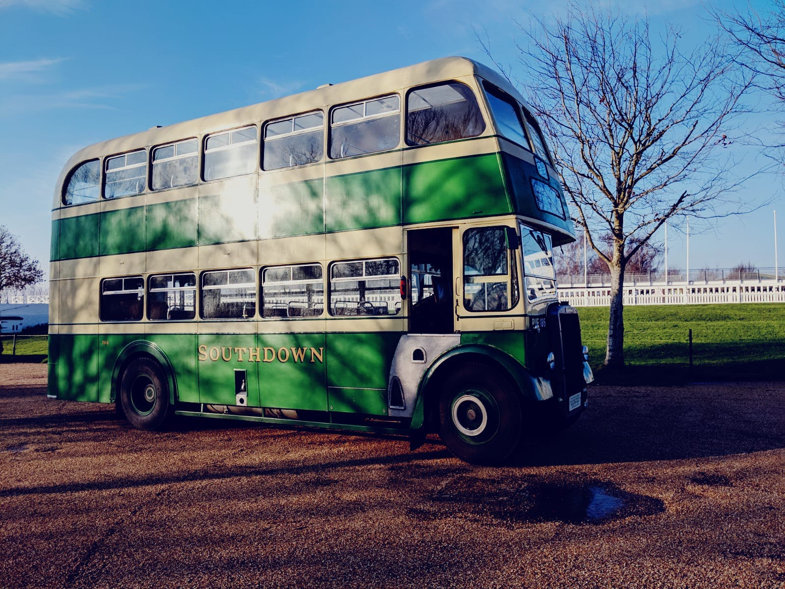 Vintage double-decker bus at Goodwood Estate