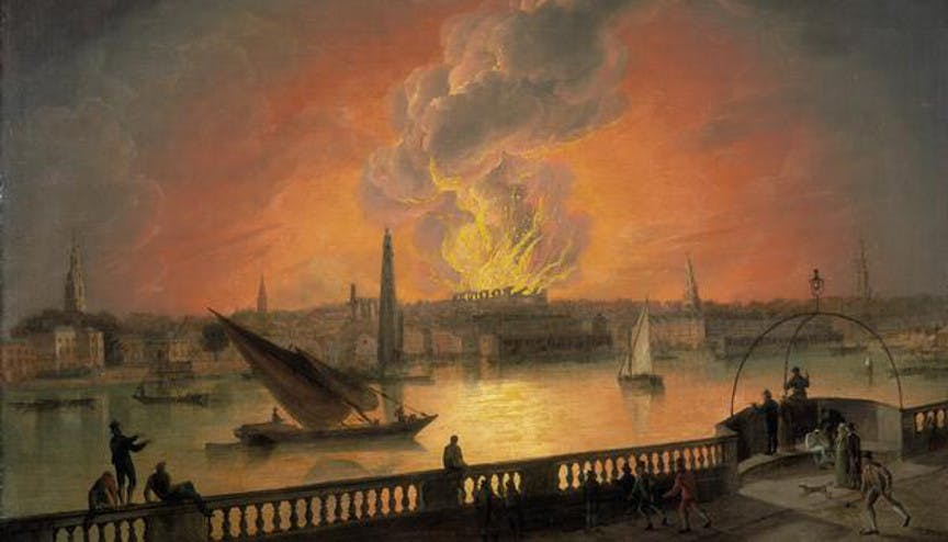 The burning of drury lane theatre