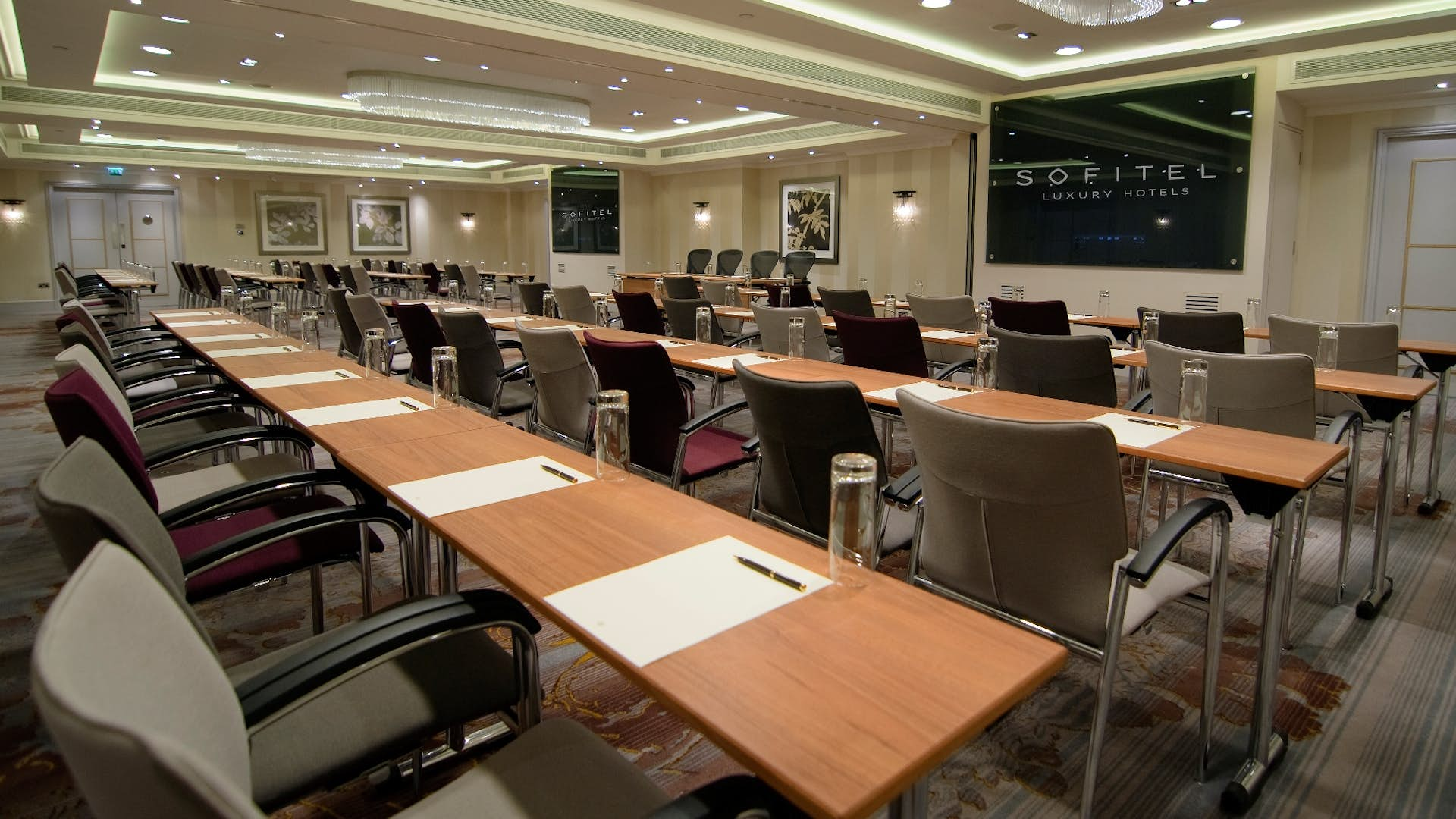 Classroom setup in a meeting room at Sofitel St James