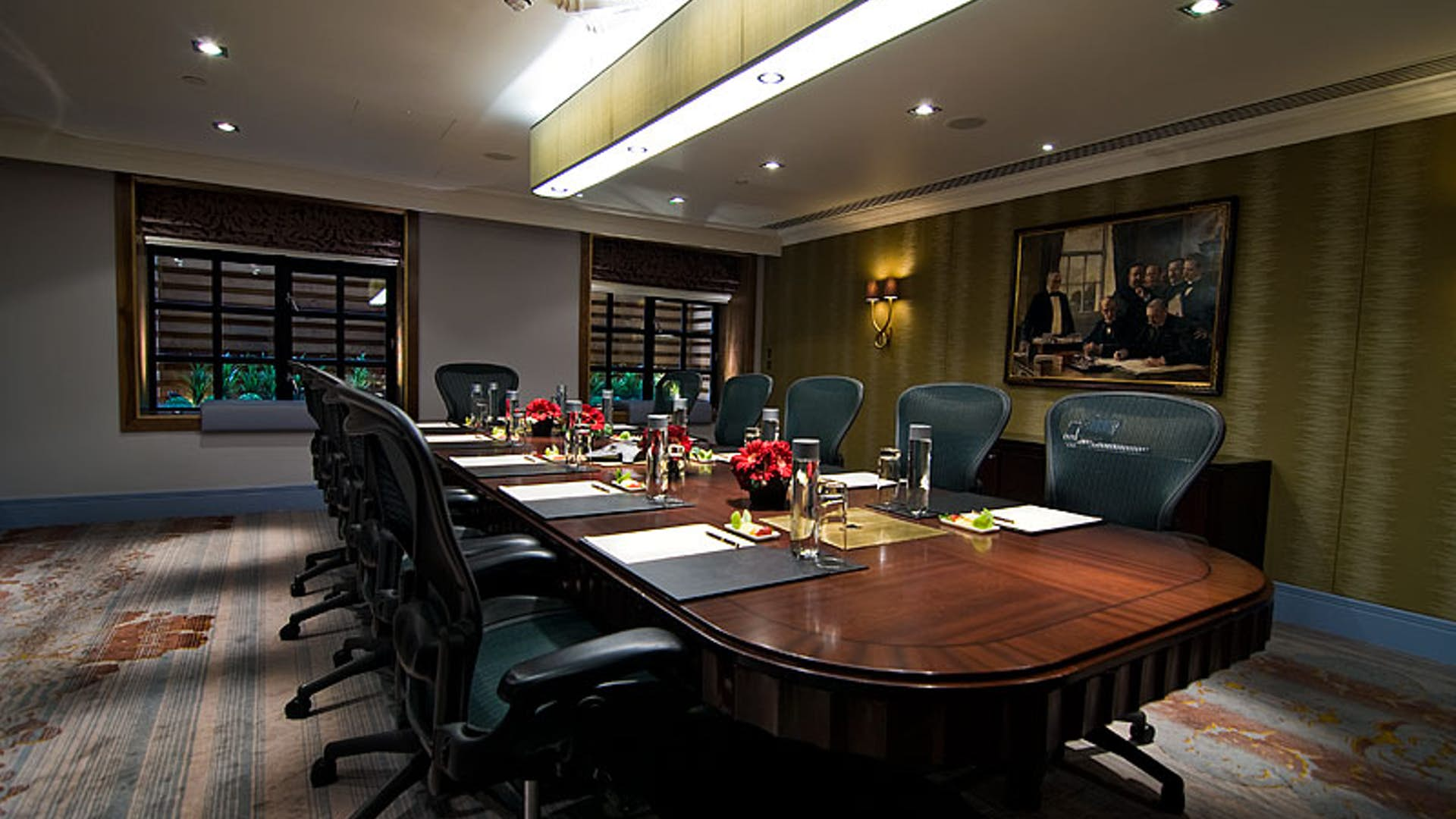 Boardroom setup in a meeting room at Sofitel St James