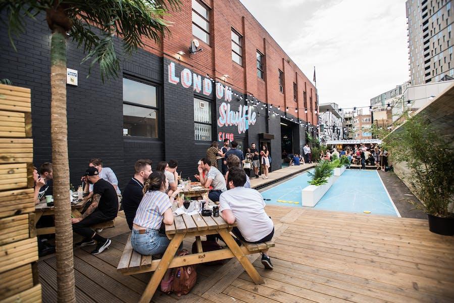 Photo of Outdoor Shuffleboard terrace at The London Shuffle Club